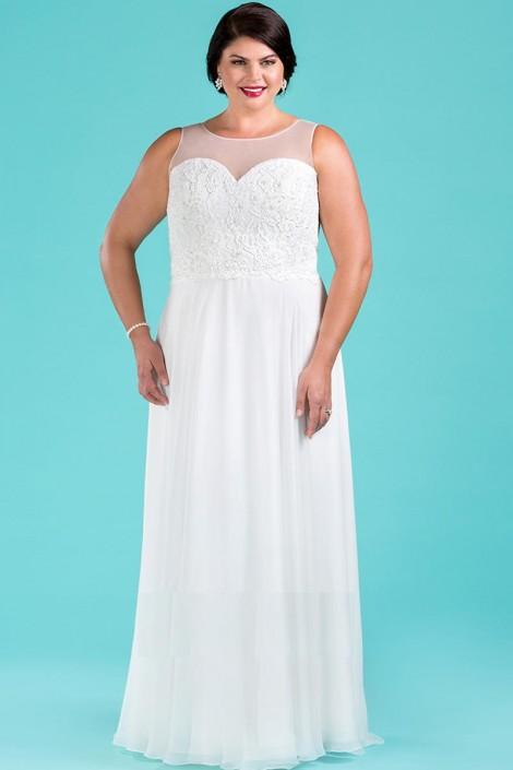 Sydneys Closet SC5220 Plus Size Illusion Wedding Dress: French Novelty