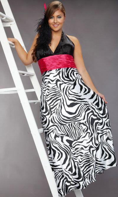 Sydneys Closet Plus Size Zebra Print Halter Prom Dress Sc7030