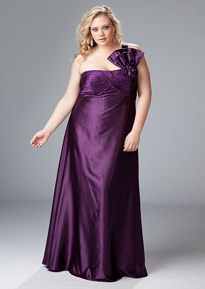 Sydneys Closet One Shoulder Satin Plus Size Prom Dress SC7044 ...