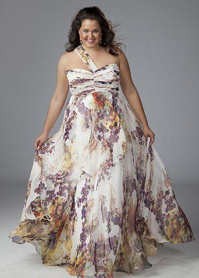 Sydneys Closet Floral Print Chiffon Plus Size Prom Dress SC7047 ...