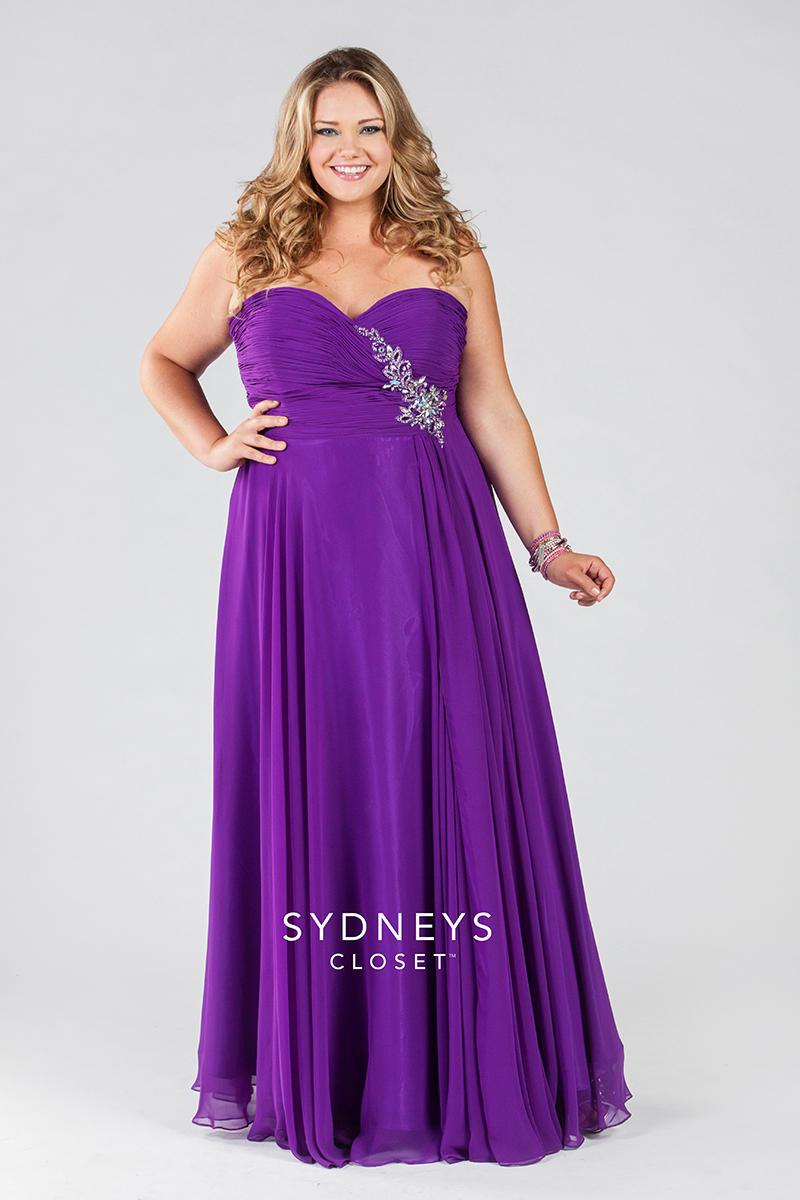 Sydneys Closet Sc7091 Plus Size Ruched Dress French Novelty