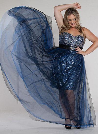 Sydneys Closet SC7093 Plus Size High Low Dress: French Novelty