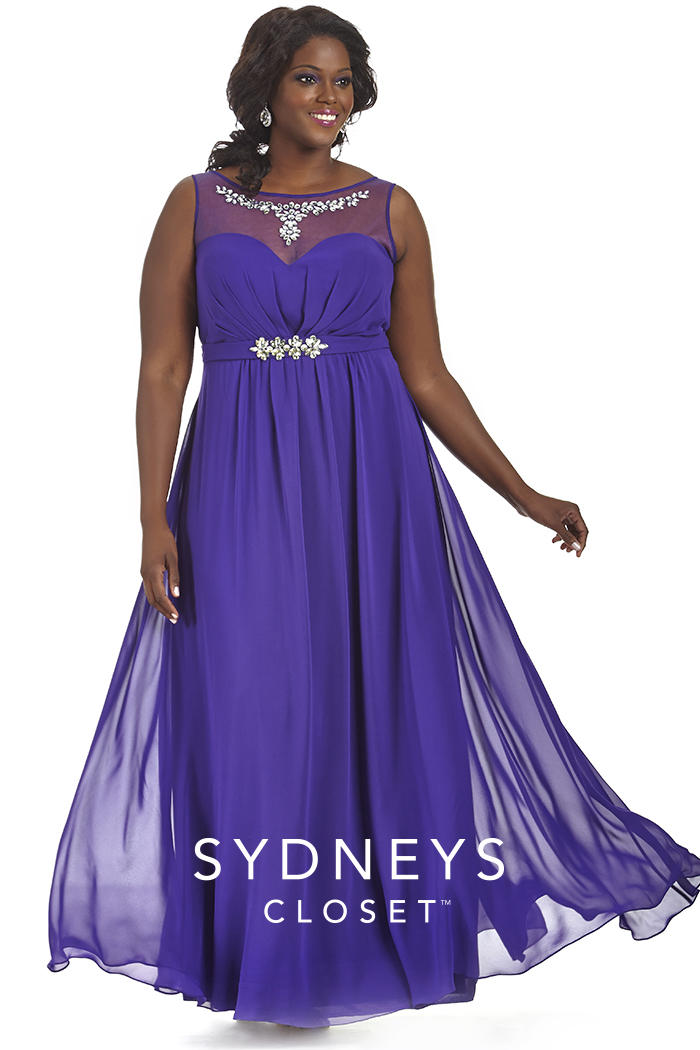 Sydneys Closet SC7164 Plus Size Illusion Prom Gown: French
