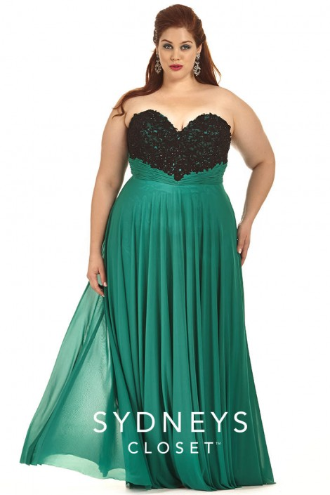 f890d675f2e Sydneys Closet SC7179 Plus Size Beaded Lace Gown  French Novelty
