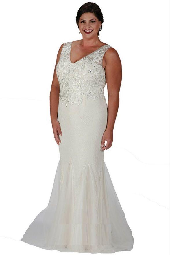Sydneys Closet SC7201 Plus Size Ivory Lace Gown French Novelty