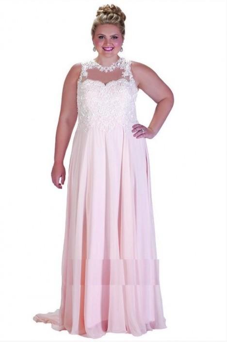 Sydneys Closet Sc7203 Plus Size Sheer Lace Prom Dress French Novelty