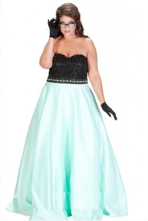 Sydneys Closet SC7207 Plus Size Colorblock Gown