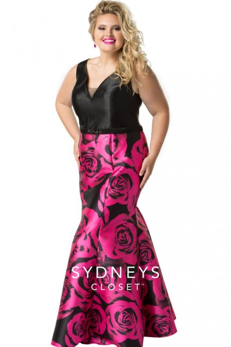Sydneys Closet SC7226 Plus Size Floral Mermaid Gown: French Novelty