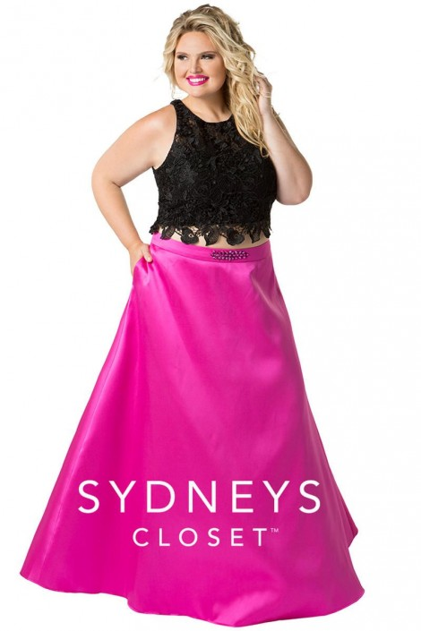 Sydneys Closet SC7228 Plus Size 2 Piece Prom Gown: French Novelty