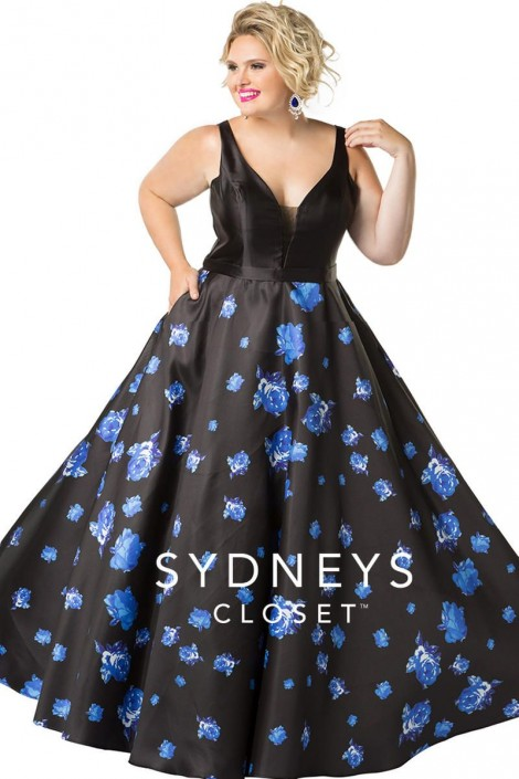 Sydneys Closet Sc7241 Floral Plus Size Prom Gown French Novelty