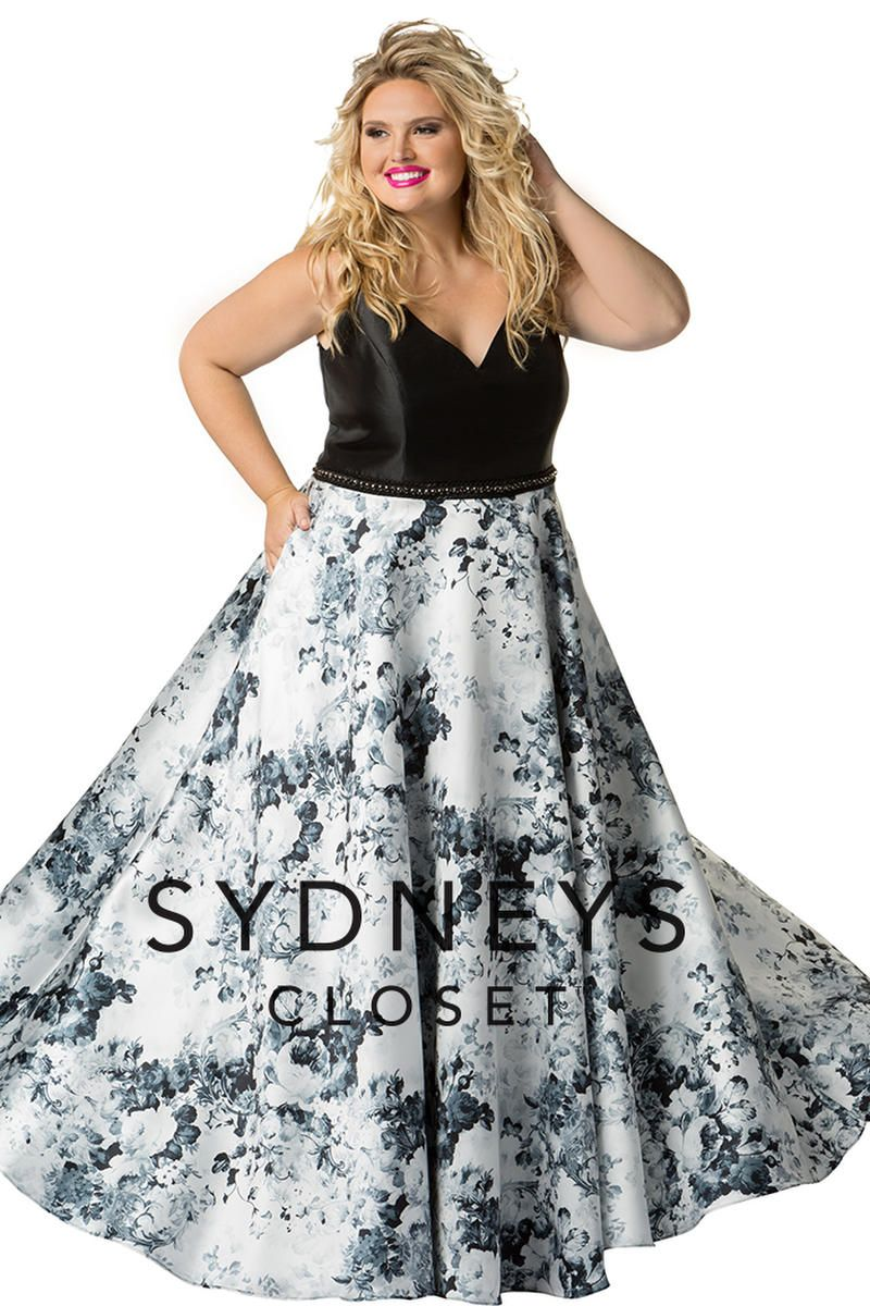sydneys closet sc7249 plus size floral prom gown french