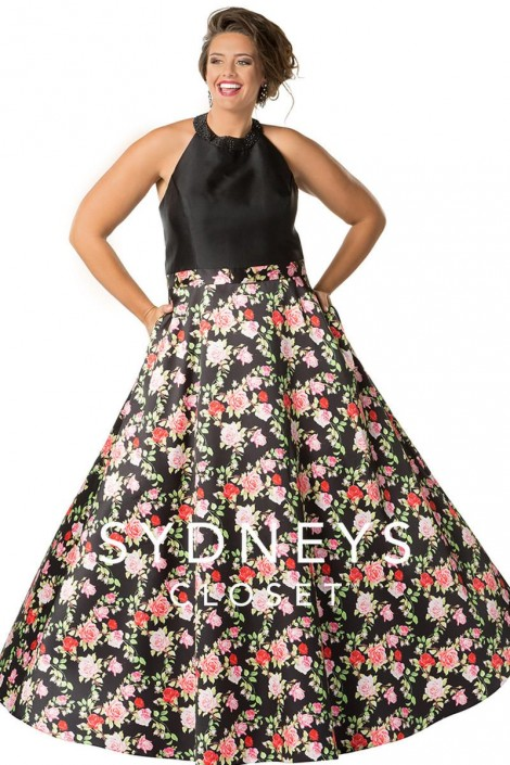 Sydneys Closet Sc7251 Floral Halter Plus Size Prom Gown French Novelty