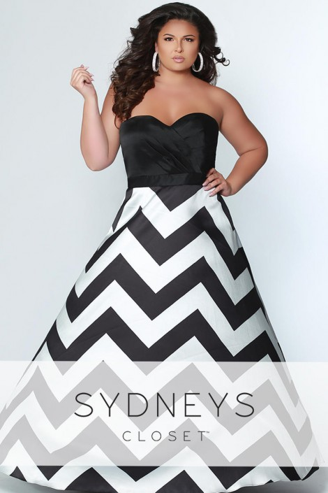 Sydneys Closet SC7264 Chevron Plus Size Prom Dress
