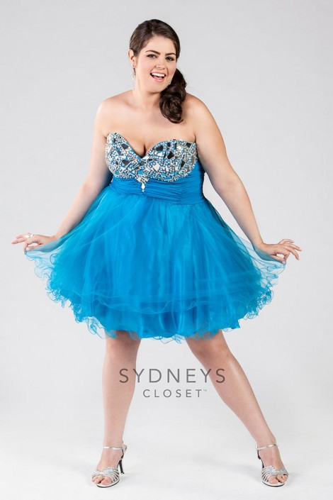 Sydneys Closet SC8032 Plus Size Short Tulle Dress: French Novelty