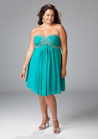 Sydneys Closet Teal Chiffon Plus Size Cocktail Dress Sc8058 French