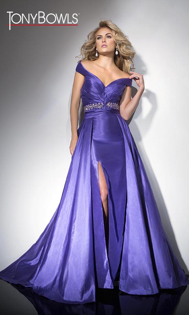 Tony Bowls TB11608 Off the Shoulder Formal Gown: French Novelty