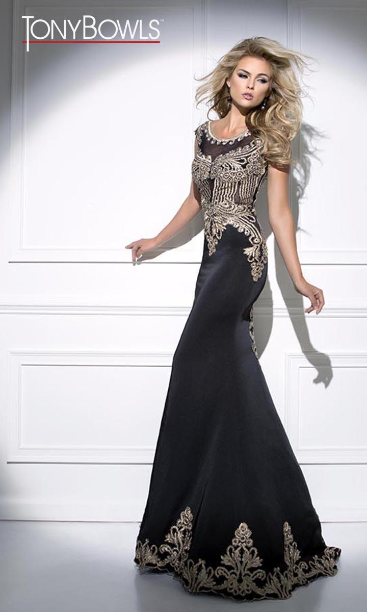 4487edb0c4 Tony Bowls TB11643 Formal Gown with Lace Embellishment  French Novelty