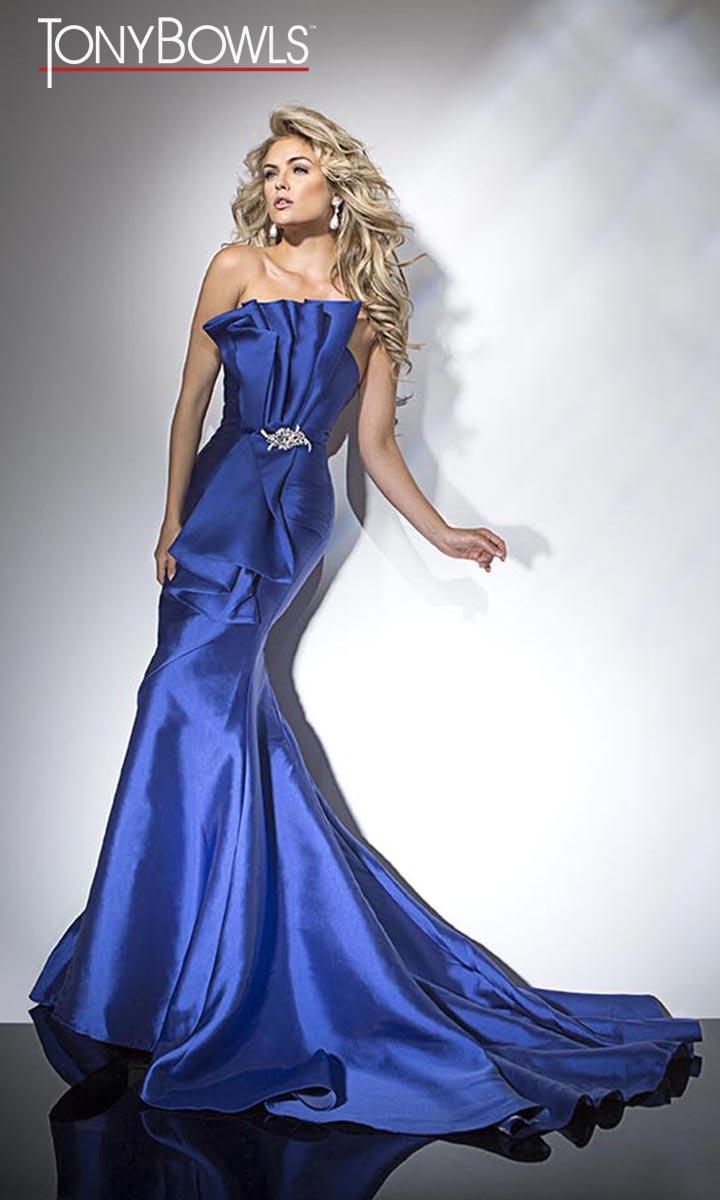 Tony Bowls TB11680 Ruffle Evening Dress: French Novelty