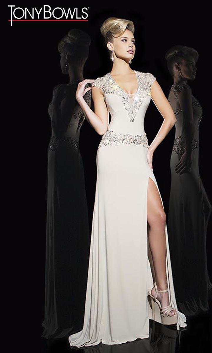 Tony Bowls TB11697 Beaded Evening Gown: French Novelty