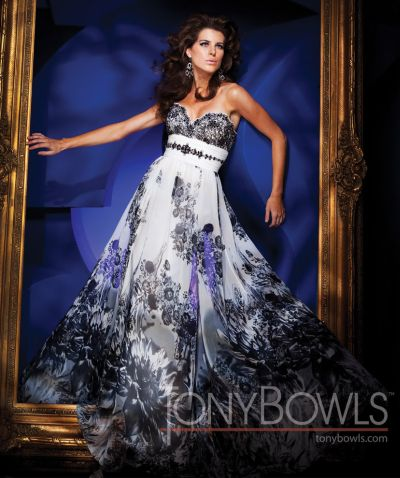 Tony Bowls Evenings Floral Print Dress TBE11104: French Novelty