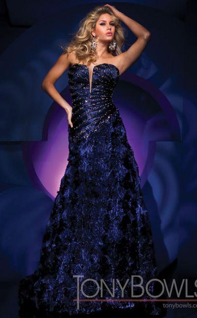Navy Blue Beaded Dress Tony Bowls Evenings Tbe11140