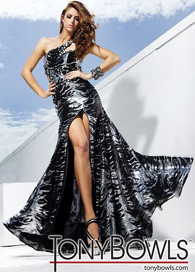 Tony Bowls Evenings Black Silver Sequin Mermaid Gown