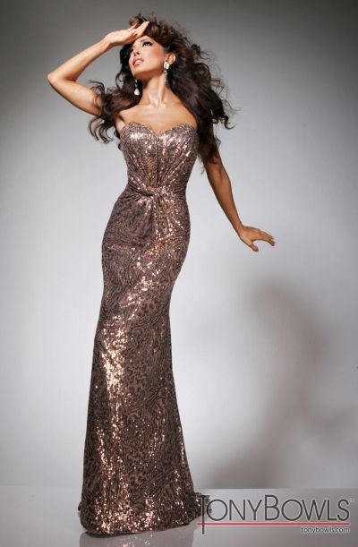 Tony Bowls Evenings TBE11329 Sequin Evening Dress: French Novelty