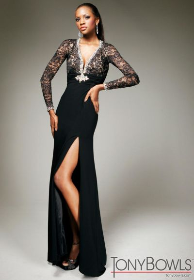 Tony Bowls Evenings Black And Nude Lace Formal Dress Tbe11331
