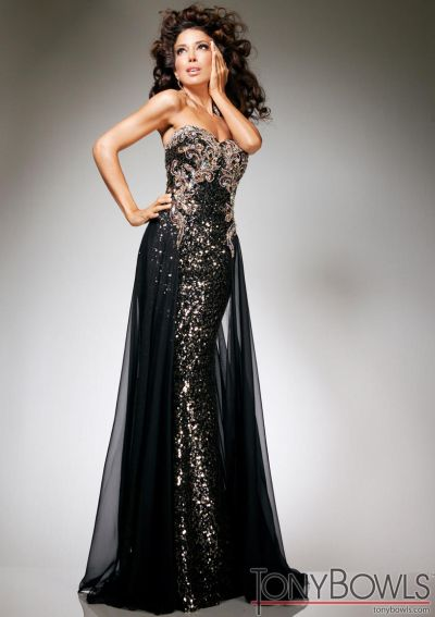 Tony Bowls Evenings Tbe11332 Black Chiffon Over Sequin