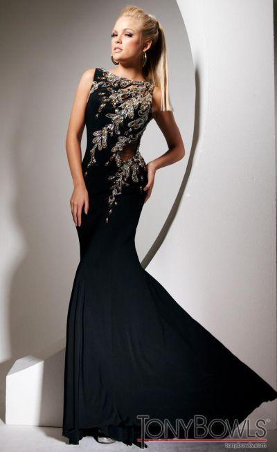 Tony Bowls Evenings Tbe11343 Black Jersey Evening Dress