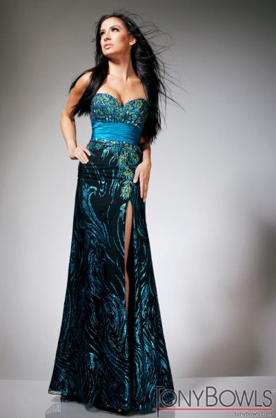 Tony Bowls Evenings TBE11346 Blue Black Hand Painted Formal Dress ...