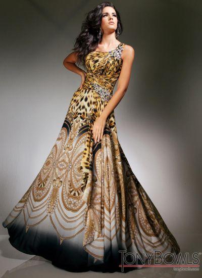 b272d53693 Tony Bowls Evenings Leopard Print Chiffon Formal Dress TBE11350A  French  Novelty