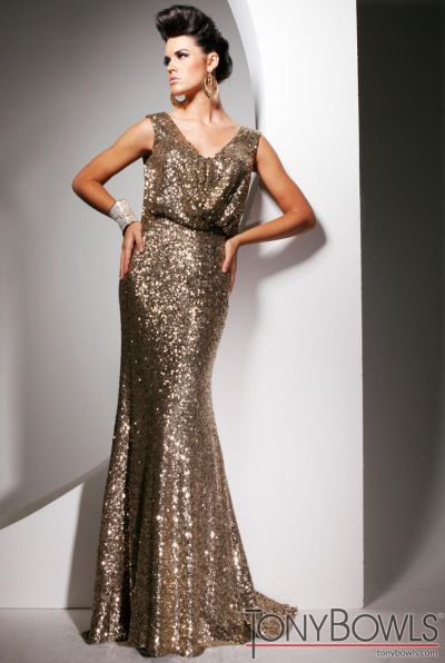 Tony Bowls Evenings TBE11353 Sequin Evening Dress: French Novelty