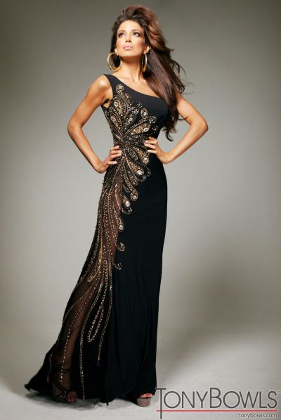 Tony Bowls Evenings TBE11355 Black Jersey Evening .Dress: French ...