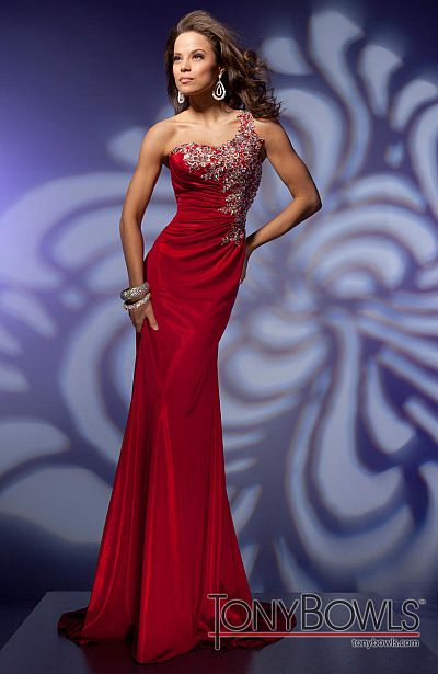 Tony Bowls Evenings Red One Shoulder Slim Dress Tbe21283