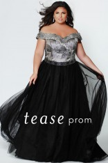 5cf273166ca Size 14W Metallic-Black Sydneys Closet TE1935 Tease Brocade Prom Dress