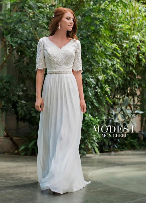 Modest by Mon Cheri TR11836 Elbow Sleeve Wedding Dress: French Novelty