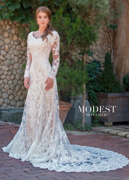 Mon Cheri TR11838 Long Sleeve Lace Modest Wedding Gown: French Novelty