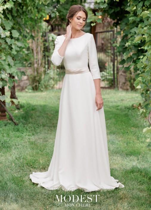 c1218adc7ee3e Mon Cheri TR11971 Simple Modest Wedding Dress: French Novelty