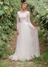 34bf2eb8fc7 Size 20W Ivory Mon Cheri TR11976 Boho Lace Modest Wedding Dress