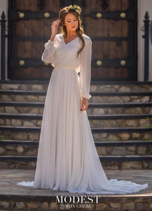 6574c36ac603 Mon Cheri TR11977 Chiffon Modest Wedding Dress: French Novelty