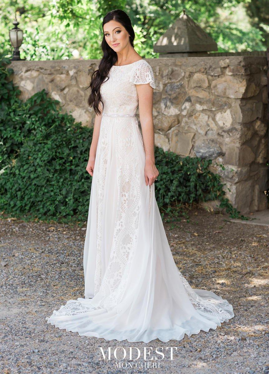 Mon Cheri Tr11985 Boho Feminine Modest Wedding Dress
