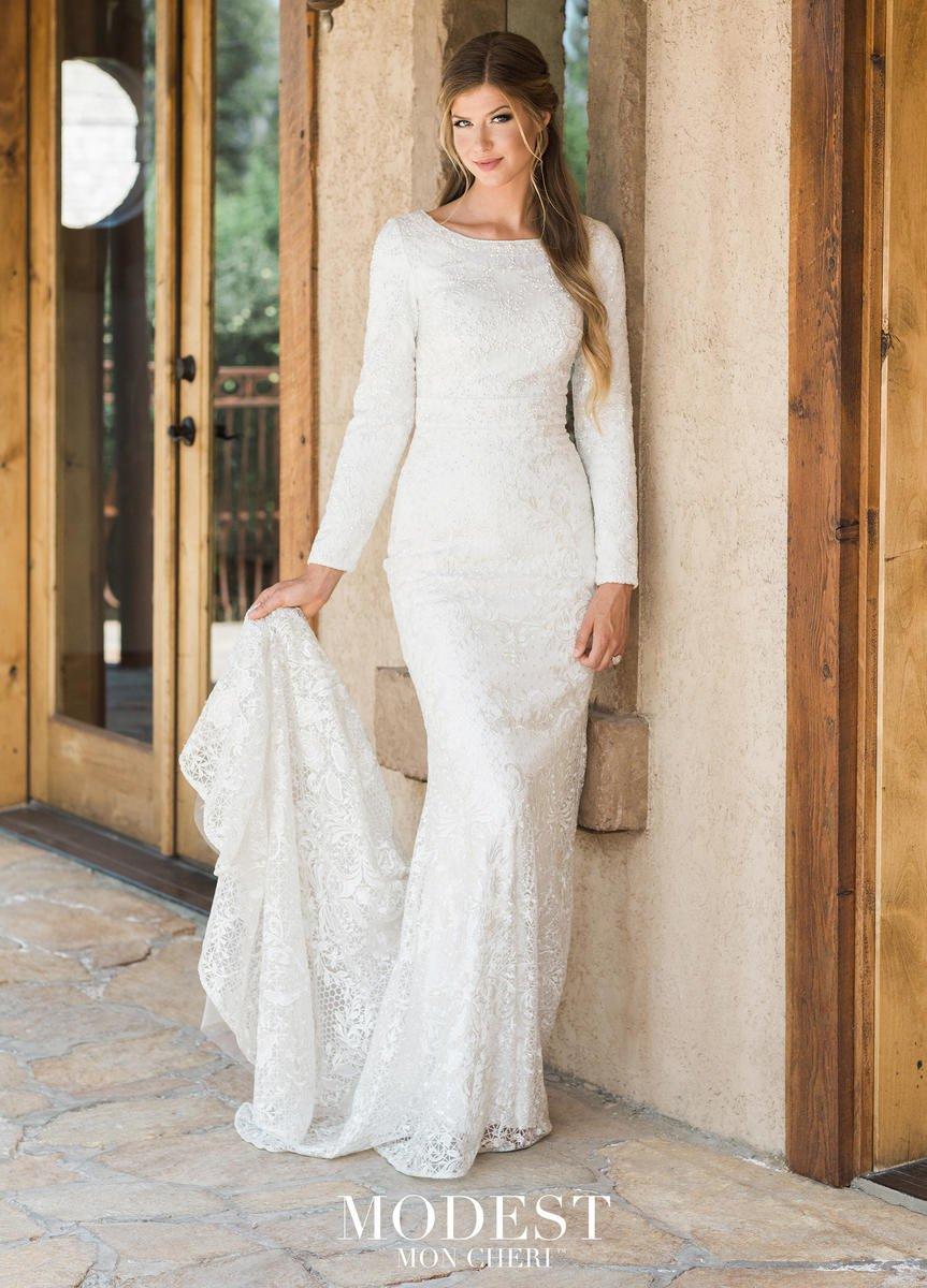 Mon Cheri Tr11987 Long Sleeve Lace Modest Wedding Dress French Novelty