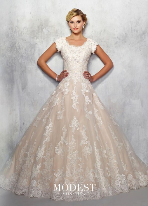 Mon Cheri TR21711 Modest Lace Wedding Gown: French Novelty