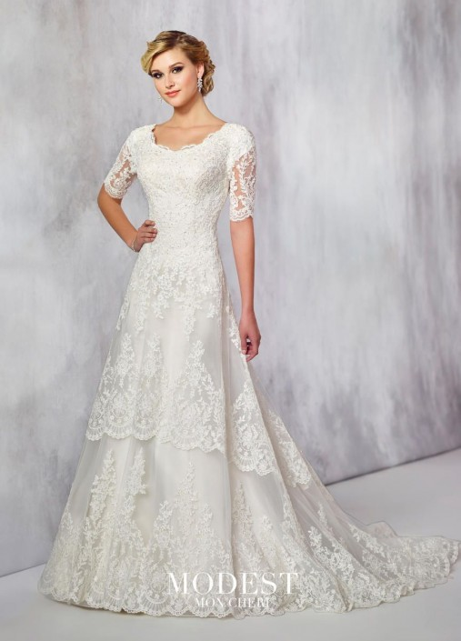 c05b6a17d2fa Modest Mon Cheri TR21715 Pearl on Lace Wedding Dress: French Novelty -