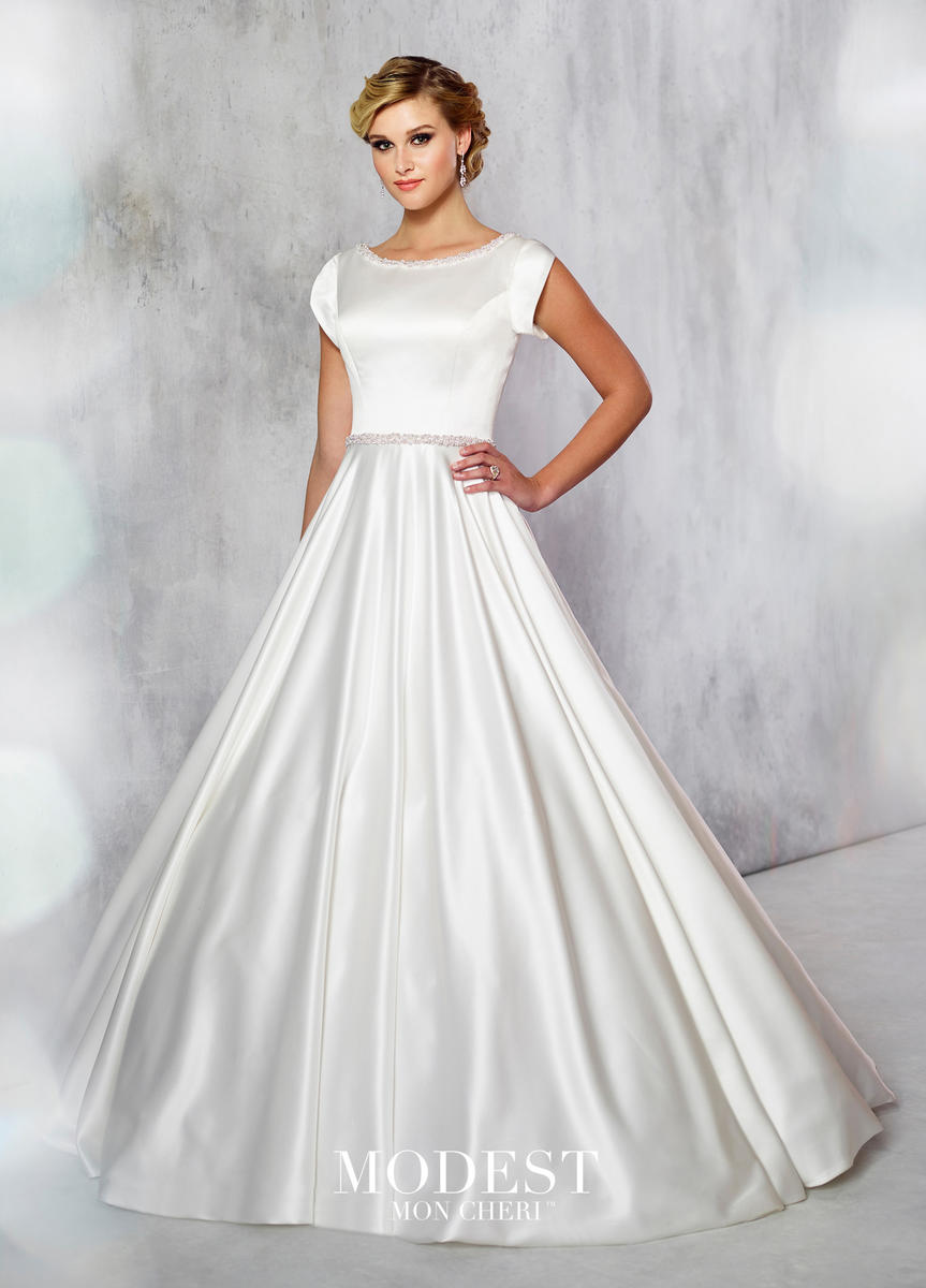 Mon Cheri Tr21716 Pearl Trim Satin Modest Wedding Gown