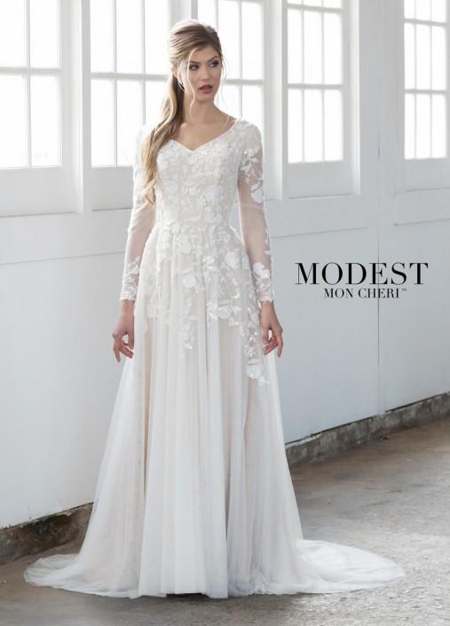 Mon Cheri Tr21858 Sheer Long Sleeve Modest Wedding Dress French Novelty