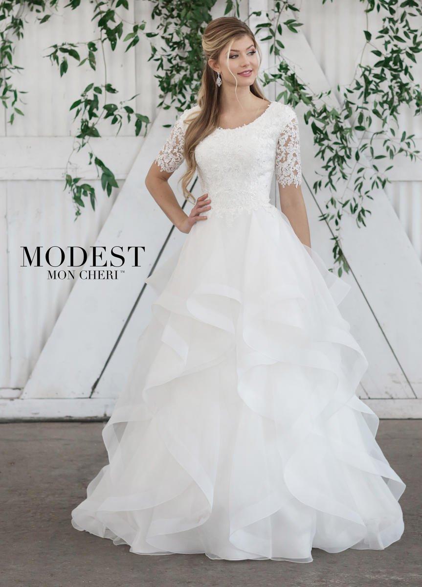 Mon Cheri TR21860 Ruffled Modest Wedding Dress: French Novelty