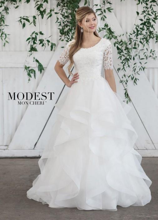 4401ae93a18b Mon Cheri TR21860 Ruffled Modest Wedding Dress: French Novelty