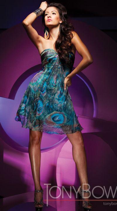 Tony Bowls Shorts Peacock Print Chiffon Short Prom Dress TS11155 ...